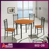 4 person walnut wooden top iron antique round dining table