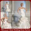 P041 Sleeveless Ruffled Satin Long Tail Wedding Dresses