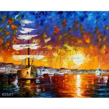 Handmade Modern Palette knife seascape oil painting by Leonid Afremov, THE SUNSET SAILER