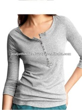 WOMENS STRIPED LONG SLEEVE T SHIRT WITH BUTTON PLACKET