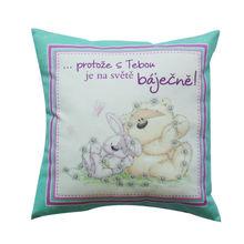 wholesale sublimation little bear carton car pattern gift printing bed pillow toss pillow Retro Modern Pillow
