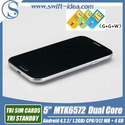 "New 5.0"" S4 3 SIM 3G Cellphone U9503 MTK6572 Dual Core Moible Phone"