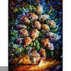 Handmade Modern impressionist Palette knife flower oil painting by Leonid Afremov, NIGHT LILAC