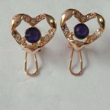 heart shaped clip earrings / metal clip on earrings /indian clip on earrings