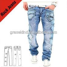 moda rock uomini denim jeans con tasche mk635