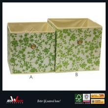 Green Leaves Fabric Organizer Storage Box