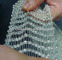 Real crystal elastic rhinestone mesh trims