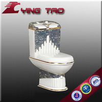Washdown ceramic Household mosaic gold sanitary ware porcelain one piece toilet construction material