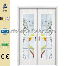 Afol interior glass wood double door,rubber wood door