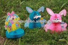 2014 sunbeauty tissue paper honeycomnb easter rabbit chicken egg decoration