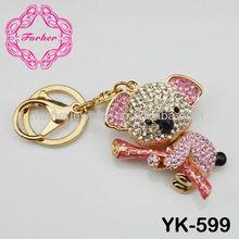 Fashion silver plating crystal key chain keyring key ring rhinestone charm bear koala keychain YK-599