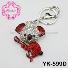 Fashion silver plating crystal key chain keyring key ring rhinestone charm bear koala keychain YK-599D