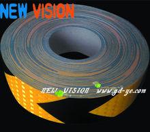 Black/yellow custom size hazard warning reflective marking tape