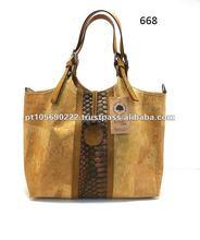 Natural cork and Croco Zulu leather handbag 668ckc