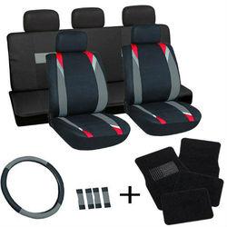 17pc Gray & Black Flat Cloth Seat Covers w/ Black Carpet Floor Mats