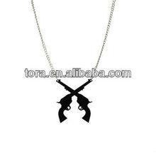 cool necklaces for boys metal dangle black 007 guns long chain necklace
