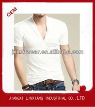 2012 cheap plain white cotton v neck t shirts wholesale china
