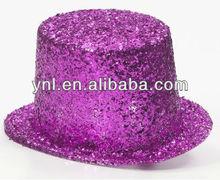 Adult Pink Fuschia Plastic Glitter Mardi Gras Party Top Hat Costume Accessory