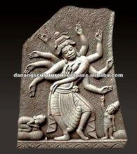 Statue en pierre indoue DSF-CP044 de Cham d'antiquité de danse de Shiva