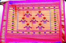 Double pallu flower peacock paithani sarees