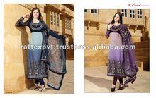 Shaded purple kameez with churidar pajama and net dupatta