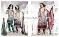 A-line long suit kameez with plain contrast salwar