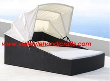 Poly rattan day bed with cushion and canopy 2012