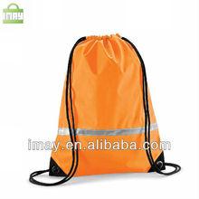 Orange polyester drawstring bag with Reflective strips