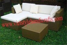 Flat poly rattan corner sofa set for indoor/outdoor 2012