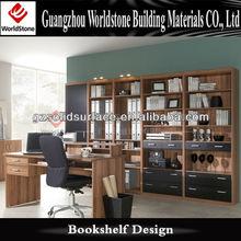 bookshelf with computer desk for office furniture design