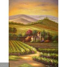 Handmade Tuscany Sunset Italian Vineyard Landscape oil Painting
