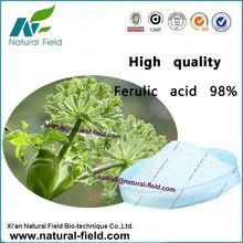Factory of rice bran ferulic acid 98%, Cas No.:1135-24-6