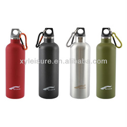 Stainless steel sports water bottle with carabiner lid Stainless steel drinking bottle