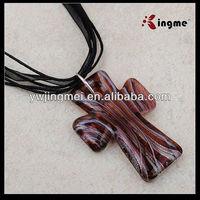 Fashion Azure Stone Cross Cord Necklace
