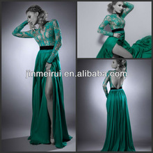 Glamorous Deep V-neck Pleat See Through Lace and Satin Straight Backless High Side Slit Empire Long Sleeve Evening Dress Porm