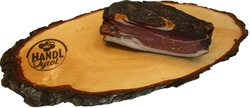 Natural oval ash tree chopping board with bark