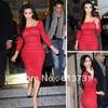 Custom Made 2012 Sexy kim kardashian Red Lace Evening Dresses Tea Length Long Sleeve Square Celebrity dresses 12011