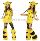 Halloween Party Costumes Yellow Sexy Pikachu Costume Adult Woman Fur Animal Costume