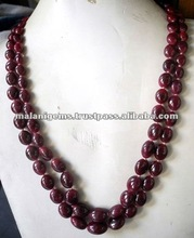 Red Ruby Oval Plain Beads Loose Beads Calibrated Multi Strand Necklace