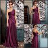 Dark Purple Elegant A-line Floor Length Satin Drapped One Shoulder Girls Formal Evening Dress DE247