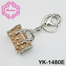 Bling Bling suitcase handbag keyring key chain rhinestone charm zinc alloy keychain YK-1480E