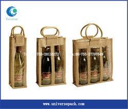 jute wine tote bag with wood handle