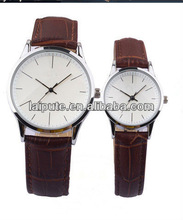 2013 quartz japan movt big face lover wrist watch with leather strap