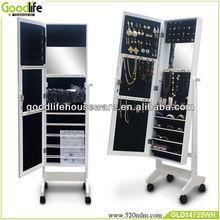 Modern wood funiture white jewelry wardrobe with mirror door