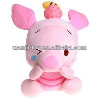pink plush lovely pig,big head plush soft pig