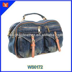 2014 Europe style cowboy tote bag, standard size denim tote bag, multi-pocket lady travel bag