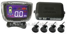lcd digital car parking sensor english speech alarm and four reverse sensors at back easy install