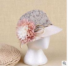 Large flowers beading mercerized sunproof hat