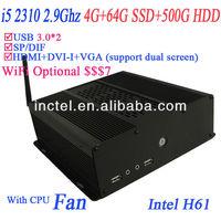 2013 hot core i5 desktop with H61 chipset HDMI VGA DVI SP/DIF intel i5 quad core 2.9Ghz alluminum black chassis HD 2000 Graphic