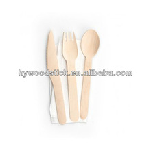 Disposable Birch Wood Salad Serving Spoon Cutlery Set